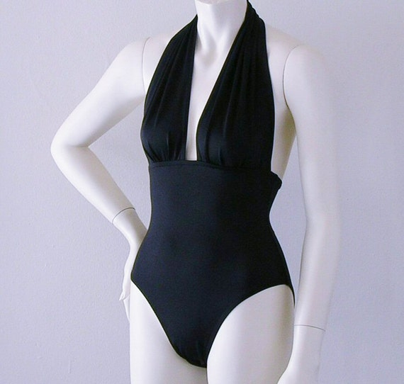 Black Retro Marilyn Halter High Leg One Piece Swimsuit S-M-L-XL