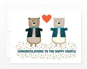 gay wedding card tuxedo bears greeting card gay wedding gift gay engagement card