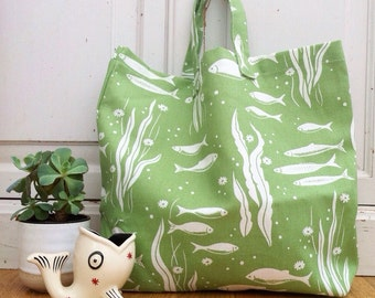 Market Tote Bag, Beach Bag, Shopper - Cath Kidston River Fishes