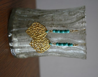 Gold Filigree Earrings with Turquoise & Green Beads