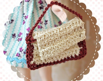 Vintage Dolly Size Crocheted Purse Handbag for Blythe or Similar Doll / Wine and Cream