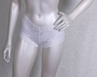 White Lace Boyshorts - Small (LB15-S)