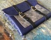 Navy and slate messenger bag