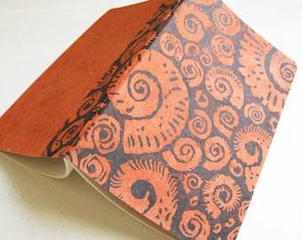 LINED MOLESKINE JOURNAL - Block Printed Japanese Paper Cover Ammonites Design- 5x8 Notebook - Ready to Ship