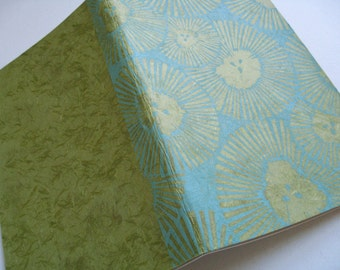 LINED MOLESKINE JOURNAL - Chrysanthemum Design - Block Printed Cover - 5x8 Floral Notebook - Floral Journal