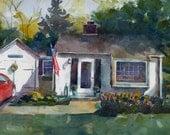 House Home Portrait Art Original Watercolor Illustration New England Painting DelPesco