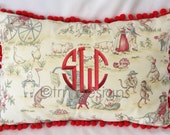 "Monogrammed Topsy Turvy Decorator Circus Toile Red Trim Pillow Cover 18 x 12"" Pom Poms Boutique"