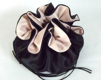 Wedding Bag Satin Bridal Money Purse  Black and Champagne No Pockets