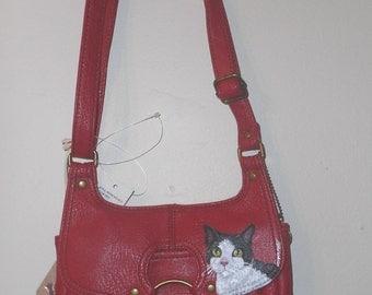 Domestic Cat Hand Painted Leather Handbag Purse Shoulder Bag