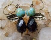 Best Friends || Czech Glass Earrings | Turquoise and Garnet | Nature Lover | Earthy | Organic | Wedding Jewelry | Earrings Under 20