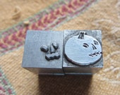 Two Letterpress Printers Blocks Metal 2-Color Halloween Pumpkin Jack-O-Lantern