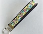 Wristlet Key Fob Chain Panda Floral Mint Aqua Kawaii