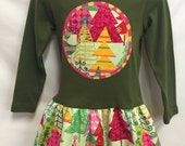 Girls Christmas Dress- Oh Christmas Tree- with Matching Flower Hair Clip and Polka Dot Leg Warmers