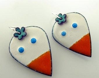 Silly Bird Earrings, enameled earrings, bird jewelry, white bird with blue flower, funky earrings by Kathryn Riechert