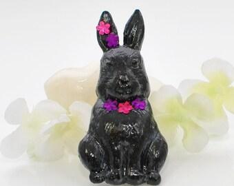 Black Rabbit Brooch Blackie - Rabbit Jewelry - Bunny Rabbit Pin - Bunny Brooch - Animal Brooch
