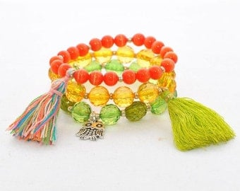 Boho Chic Bohemian Elastic stretch bracelets Stackable Beaded Crystal Stretch Bracelet Tassel Razzle Dazzle - Yellow Green Orange Bracelets