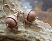 Rose Gold Acorn Earrings - Rosewood Acorn Earrings - Wood Earrings - Acorn Earrings - nature-inspired - Autumn Jewelry - Woodland Wedding