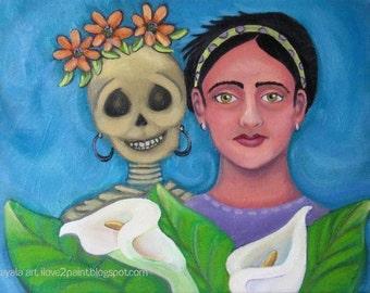 Oil on Canvas Painting Kahlo Style Woman, Skeleton skelly skull Calla lili