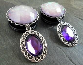 "Dangle Plugs - 7/8"" 22mm - 1"" 25mm Gauges - Purple Gem Plugs - Large Wedding Plugs - Lilac Opalized Gauges - Plug Earrings"