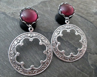 "Dangle Plugs - 9/16"" 14mm - 5/8"" 16mm - Filigree Plugs - Round Hoop Gauges - Tribal Plugs - Alternative Wedding - Plug Earrings"