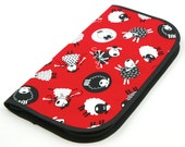 Super Size Zip Around Knitting Needle Case - Red Sheep - black pockets