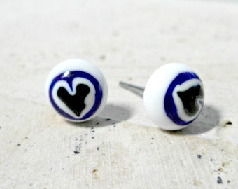fused glass earrings - blue and white heart earrings - millefiore glass post earrings - heart earrings -  jewelry -  stud earrings - hearts
