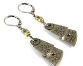 Steampunk Earrings with Highly Detailed Pocket Watch Regulators in Pale Jonquil Yellow and Silver - by Nouveau Motley