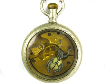KAFKA CLOCK Steampunk Genuine Beetle Necklace Weevil and Antique Pocket Watch Case One of a Kind Work of Art Only from Nouveau Motley