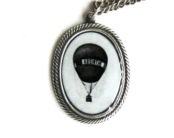ABSINTHE Hot Air Balloon Totally Steamy Steampunk Photo Cameo Necklace by Nouveau Motley