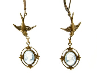 Neo Victorian Cameo Earrings with Dainty Filigree Frames and Swallows in Pale Blue