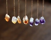 Raw Gemstone Necklace, Raw Stone, Raw Citrine Necklace, Raw Amethyst Necklace, Crystal Nugget, Boho Style, Rough Gemstone Jewelry