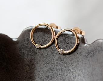 Diamond Dot Earrings, Gold Circle Earrings, Delicate Earrings, Open Circle Earrings, 14k Yellow Gold Post, Modern Diamond Earrings
