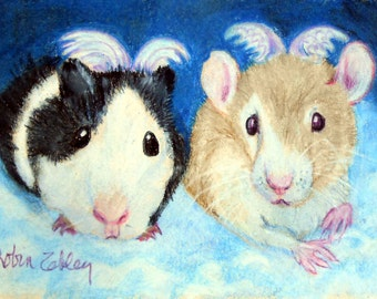 Guinea Pig and Pet Rat Art, Custom Portrait of Guinea Pig, Fancy Rats or any small pet, ferret, bird, reptile