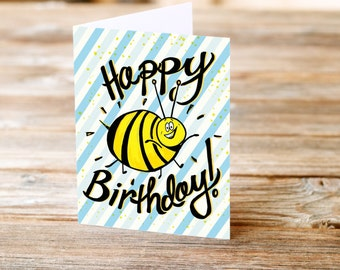 bumble bee birthday honey striped funny greeting card