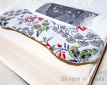Rosebud Book Weight - Merlot, Red, Green, Grey and Off-White - Rose Floral Fabric - teatime page holder, cookbook holder, gift for grandma