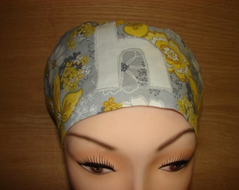 Choose Your Initial Yellow and Gray Euro Style Medical Surgical Scrub Hat Vet Nurse Chemo