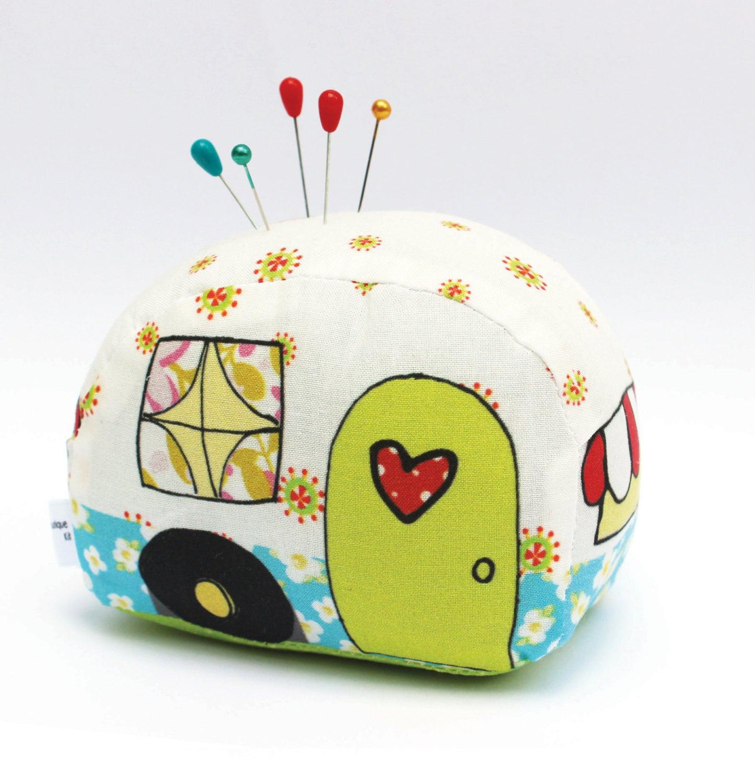 happy camper pin cushion needlecraft it