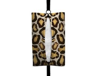 Auto Sneeze - Leopard Print - Visor Tissue Case/Cozy - Car Accessory Automobile Brown Tan