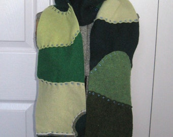 """cashmere scarf . Felted Cashmere Scarf . made from recycled Cashmere  Sweaters LIVE GREEN 206 . green cashmere scarf . 5"""" wide"""