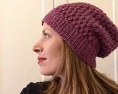Heather plum crochet slouch hat ships immediately
