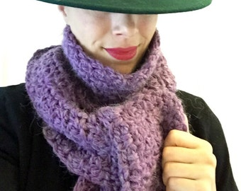 Alpaca blend scarf in plum  available immediately