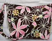 HALF PRICE SALE Medium Tote Brown Pink Flowers