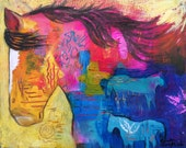 Original Horse Acrylic Painting by Caren Goodrich