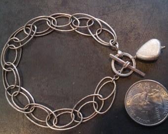 Textured Chain Toggle Bracelet in Sterling Silver with Nugget Charm