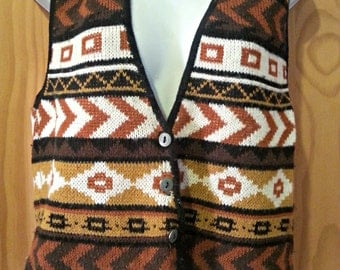 Vintage Tribal Sweater Vest Size Small