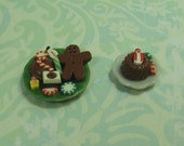 Dollhouse Miniature Set of Two Plates with Christmas Sweets