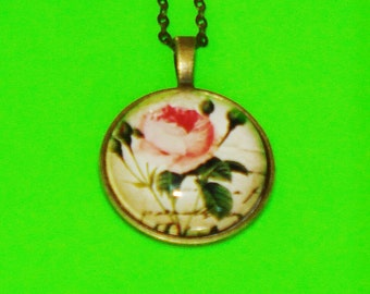 Pretty Pink Rose Glass Pendant Necklace
