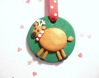 Reindeer Christmas Ornament, Cute Christmas Ornament, Gift for Grandchild, Whimsical Decor, Polymer Clay Handmade Holidays, Christmas Bauble