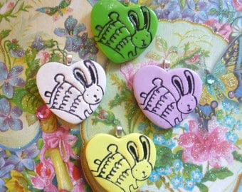 Cute Easter Bunny Jewelry, Bunny Heart Pendant or Bunny Pin Brooch, Optional Necklace, Spring Colors, handmade polymer clay