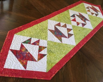 Quilted Table Runner, Cake stand block, traditional quilt block, modern style, bright colors, green red, Island Batik, Long table runner